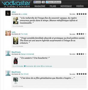 Capture d'écran d'un échantillon de micro-critiques sur vodkaster.com