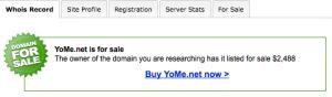 """Capture d'écran du """"whois"""" de yome.net"""